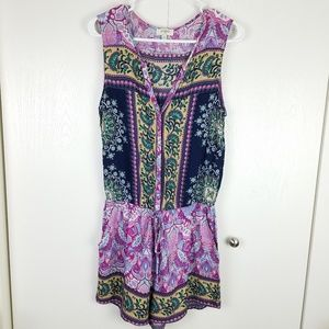 Umgee multi pattern sleeveless romper with pockets